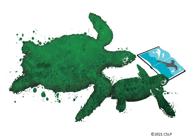 White background with an illustration of two sea turtles swimming while holding an open book.