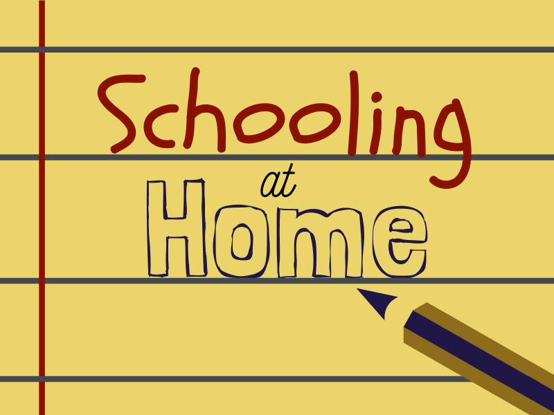"Illustration of yellow, lined paper and a pencil writing out ""Schooling at Home"""