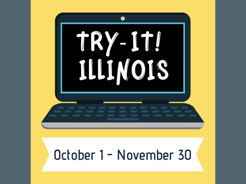 Illustration of a computer with the text 'try-it! Illinois' on the screen.