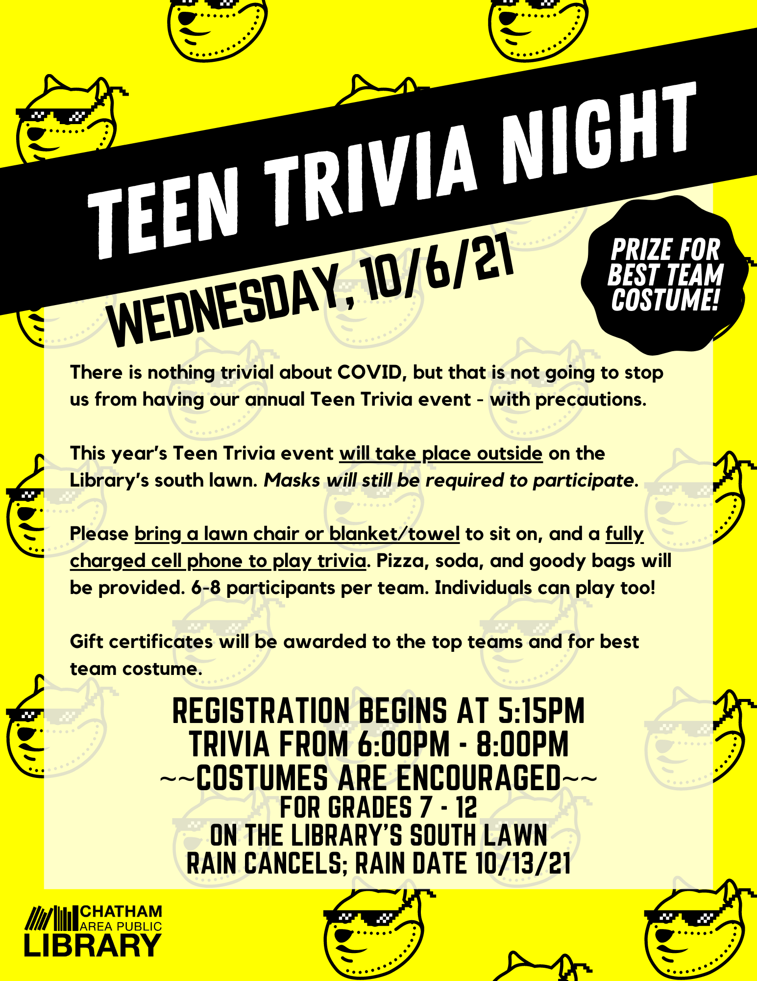 Picture of a flier with all details about Teen Trivia