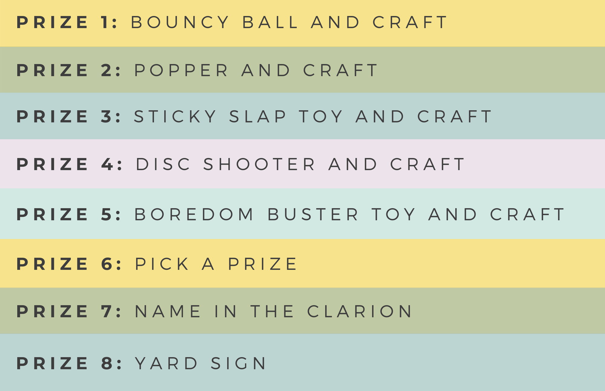 A table showing each of the prizes awarded for the Summer Reading Program