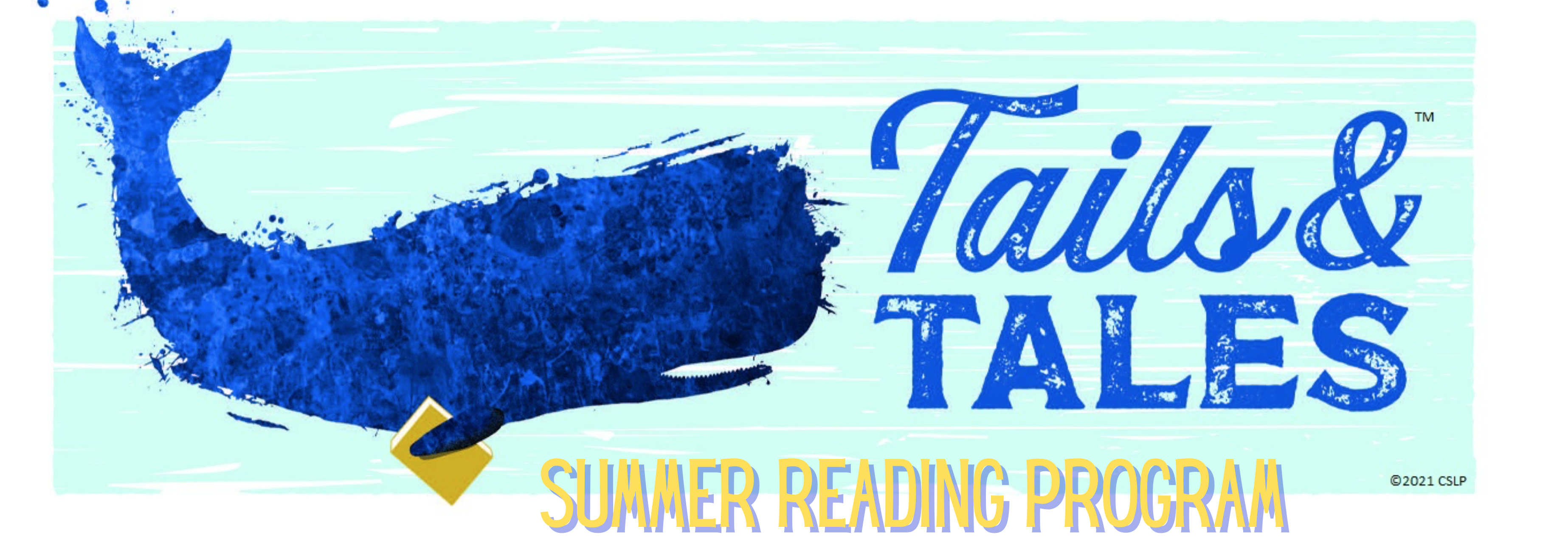 In illustration of a navy blue whale swimming in light blue water and holding a yellow book. There is a white border and blue and yellow lettering of varying typefaces.