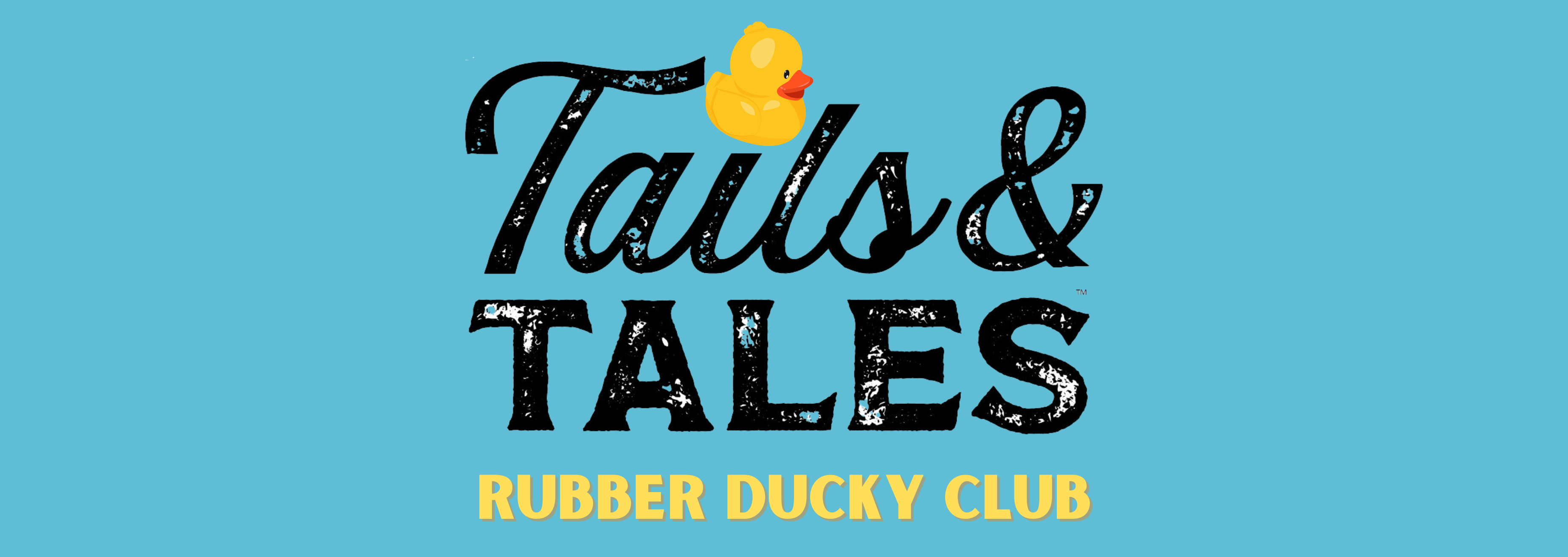 Blue background with black text in the center with an illustration of a rubber duck as the dot over the letter 'i'. Underneath that is golden-colored text.