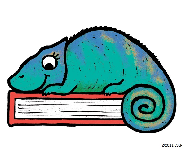 An illustration of a blue/green chameleon laying on top of a red book.