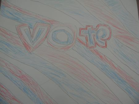 The-word-'vote'-written-in-bubble-letters-in-red,-white,-and-blue.-A-pattern-of-red,-white,-and-blue-diagonal-lines-fill-the-background