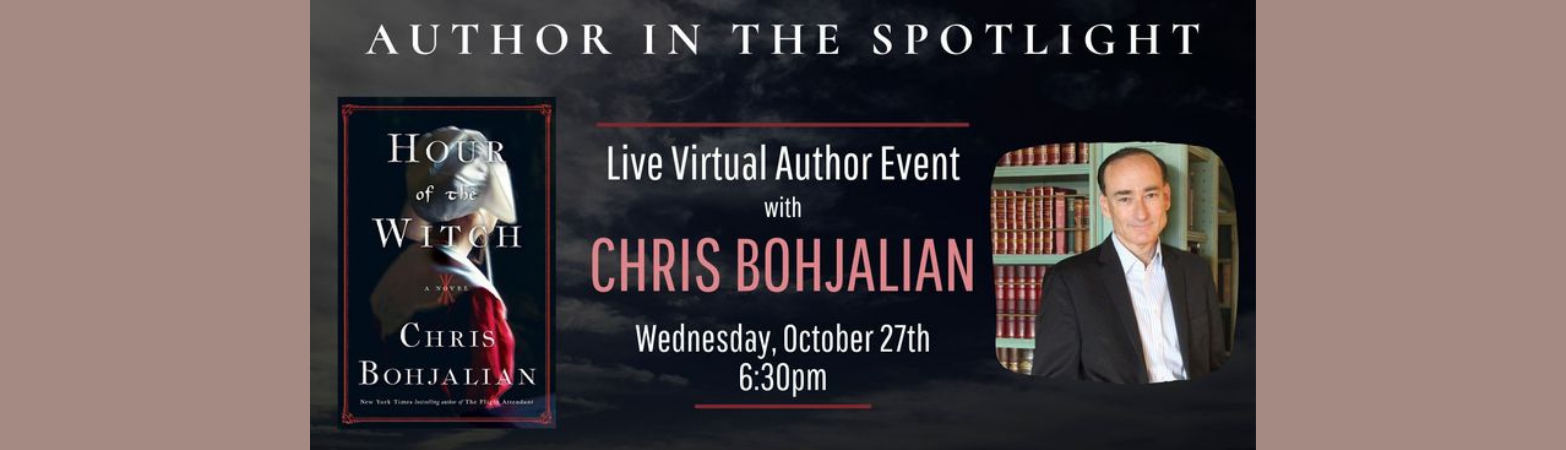 A photo of the author and the book cover art with text describing the live virtual author event