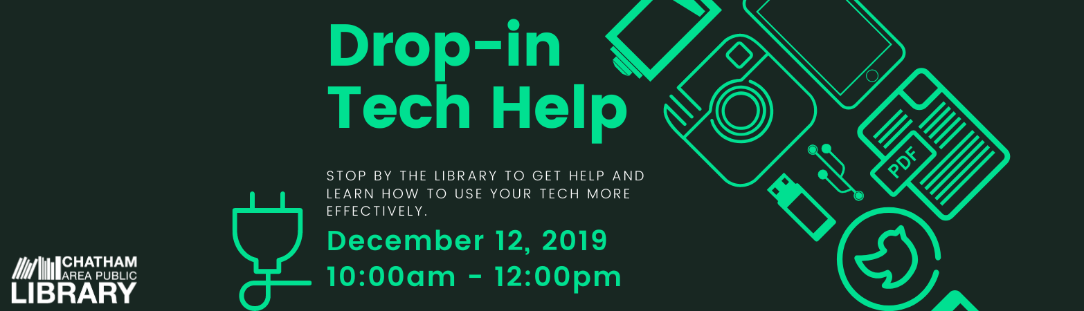 Image advertising a drop in the tech help drop in program