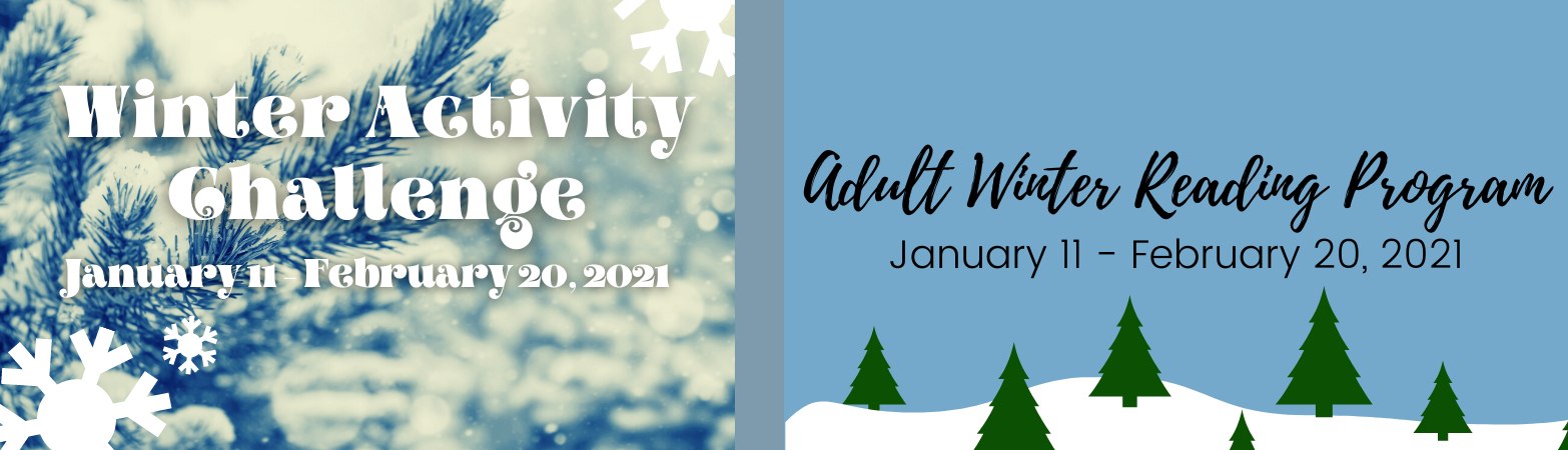 A design with two sides. The left has a photo of a winter scene and white lettering with the activity challenge title and date. The right side has an illustration of a winter scene with lettering describing the Adult Winter Reading Program.
