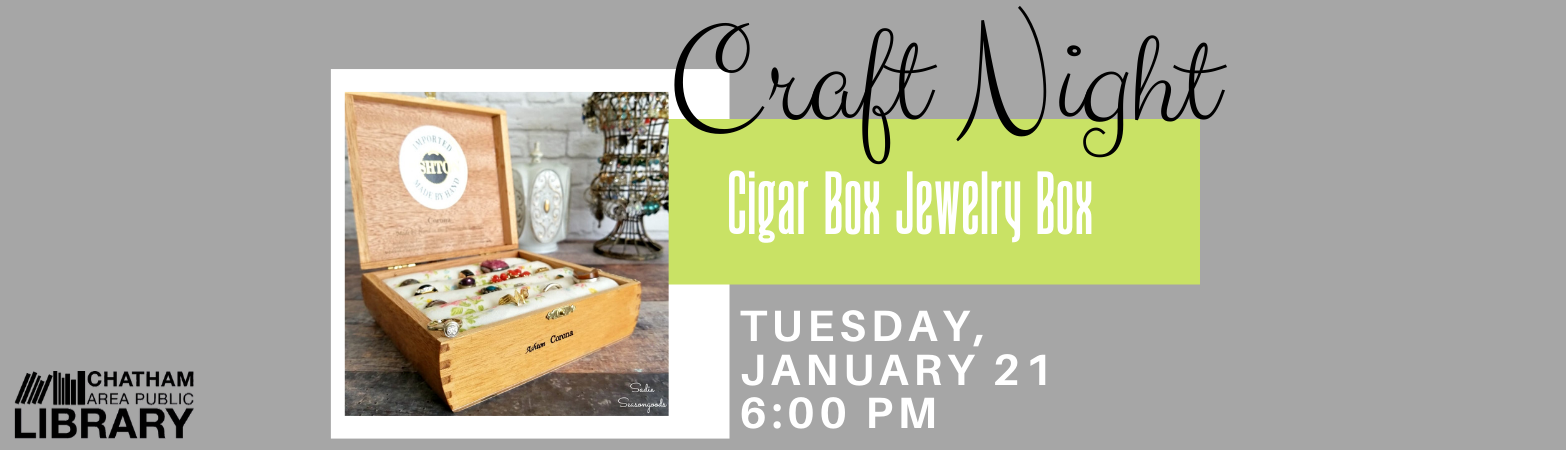 Gray, green, and white design with a photograph of a jewelry box made from a cigar box.