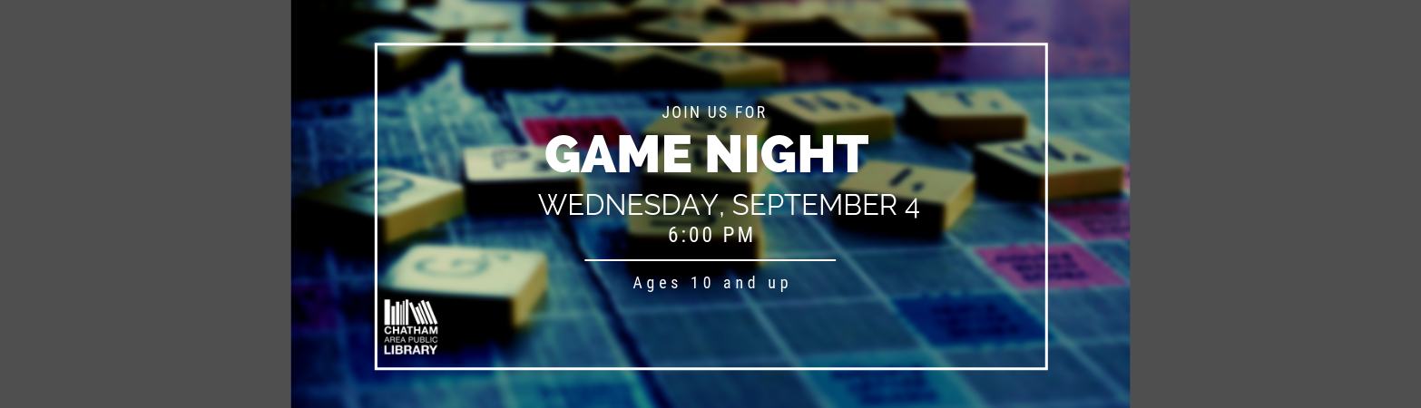Game Night on September 4 at 6:00 PM