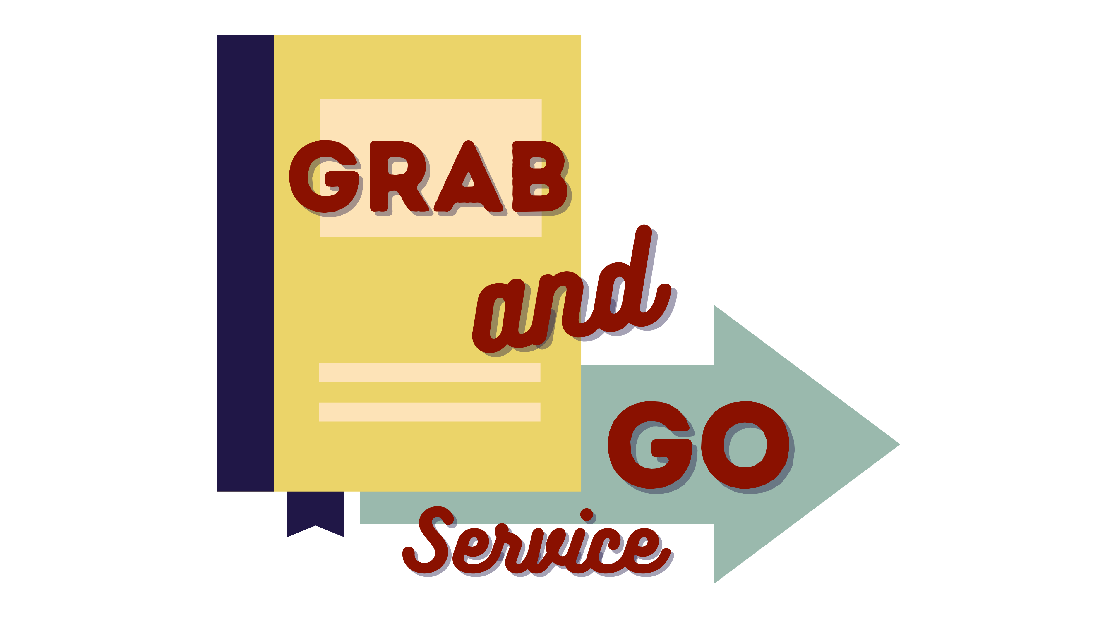 Grab and Go Logo with various colors and an arrow and book in the background