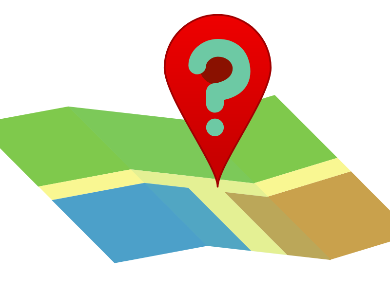 Illustrated map with pin and question mark