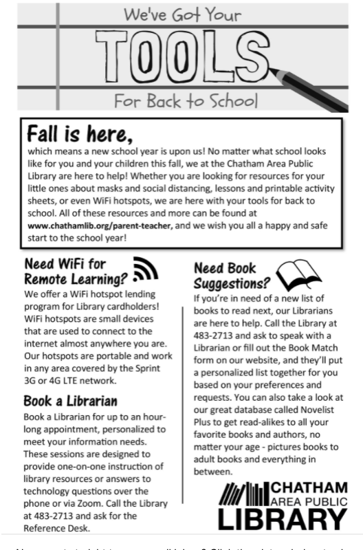 Black and white image of the front of the Library's 2020 Back to School Newsletter