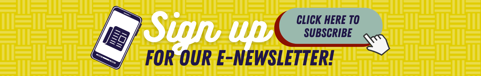 Yellow background with an icon of a smartphone with a newspaper on the screen, a button inviting users to sign-up for the e-newsletter, and an icon of a finger pointing as if to click the button.