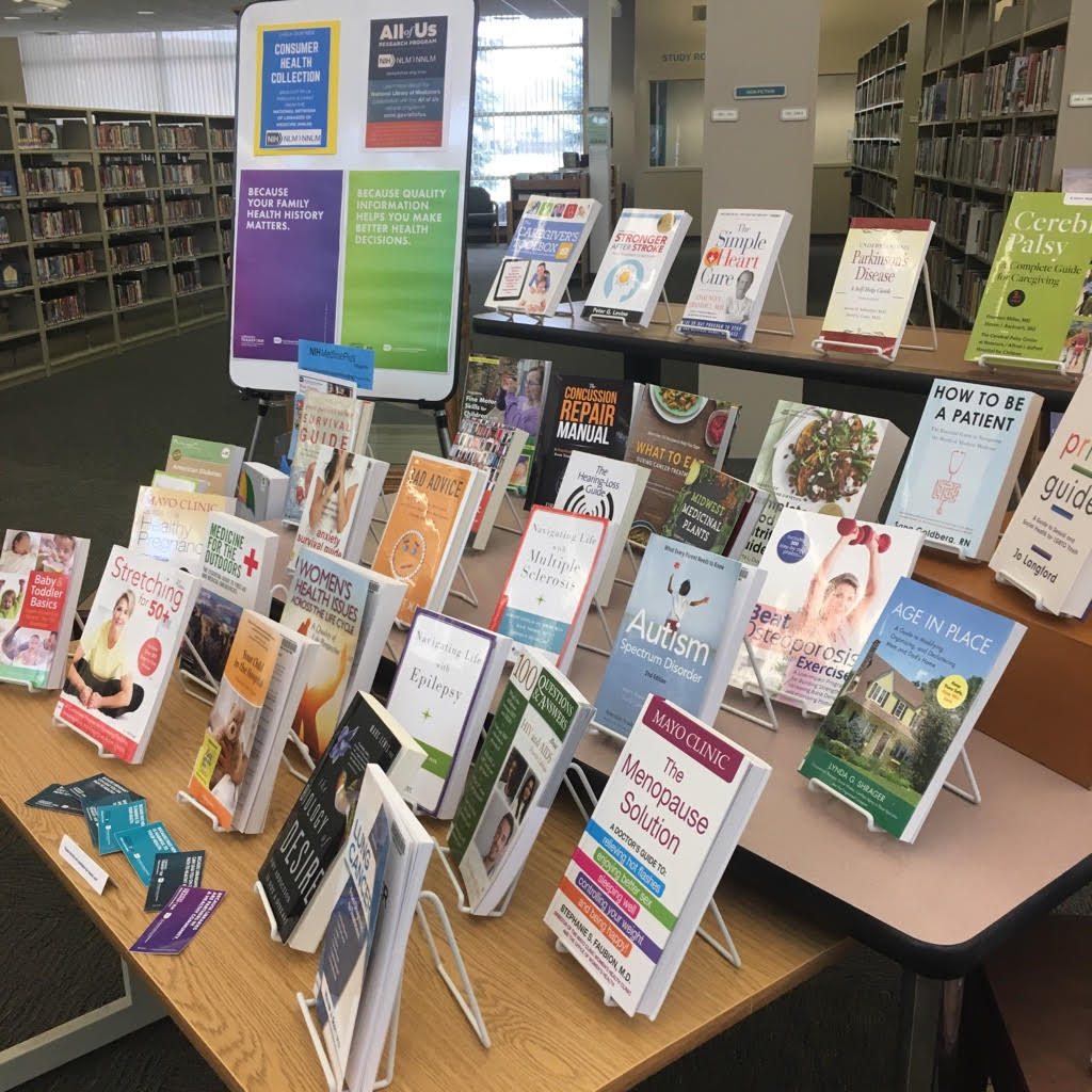 A picture of the new Consumer Health Collection display currently at the Library.