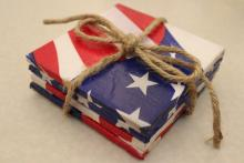 Patriotic Coasters with red, white and blue image