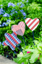Garden stakes with red, white and blue stripes and stars