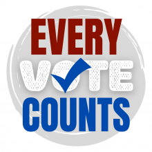 """Gray circle with red, white, and blue text that says, """"every vote counts."""" The """"o"""" in vote has a checkmark inside of it."""